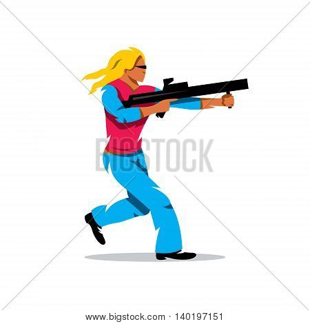 Lady runs with arms. Isolated on a white background
