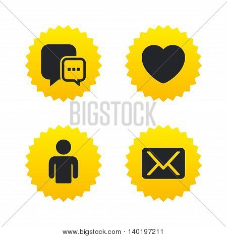 Social media icons. Chat speech bubble and Mail messages symbols. Love heart sign. Human person profile. Yellow stars labels with flat icons. Vector