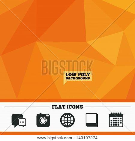 Triangular low poly orange background. Social media icons. Chat speech bubble and world globe symbols. Hipster photo camera sign. Polaroid photo frames. Calendar flat icon. Vector
