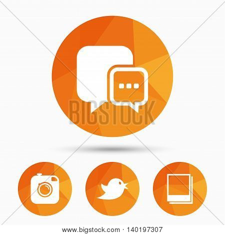 Social media icons. Chat speech bubble symbol. Hipster photo camera sign. Empty photo frames. Triangular low poly buttons with shadow. Vector