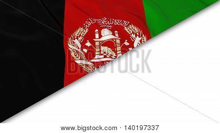 Afghan Flag Corner Overlaid On White Background - 3D Illustration