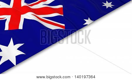 Australian Flag Corner Overlaid On White Background - 3D Illustration