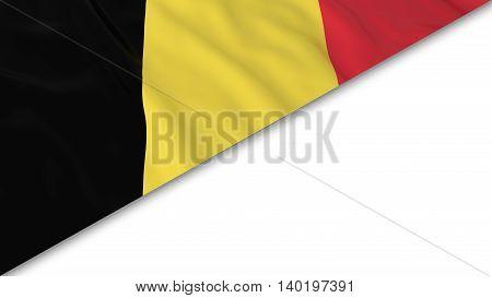 Belgian Flag Corner Overlaid On White Background - 3D Illustration