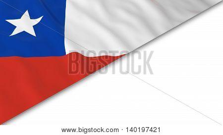 Chilean Flag Corner Overlaid On White Background - 3D Illustration