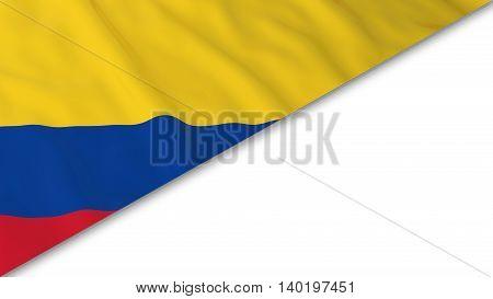 Colombian Flag Corner Overlaid On White Background - 3D Illustration