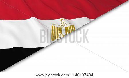 Egyptian Flag Corner Overlaid On White Background - 3D Illustration