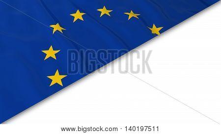 European Flag Corner Overlaid On White Background - 3D Illustration