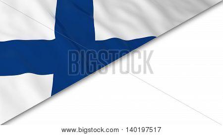 Finnish Flag Corner Overlaid On White Background - 3D Illustration