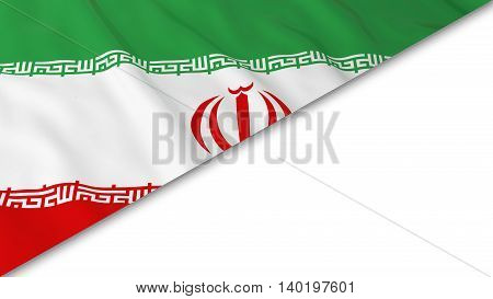 Iranian Flag Corner Overlaid On White Background - 3D Illustration