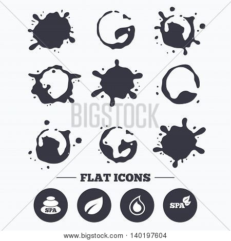 Paint, coffee or milk splash blots. Spa stones icons. Water drop with leaf symbols. Natural tear sign. Smudges splashes drops. Vector