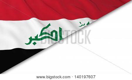 Iraqi Flag Corner Overlaid On White Background - 3D Illustration