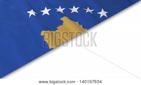 Kosovan Flag Corner Overlaid On White Background - 3D Illustration