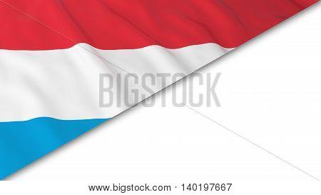 Luxembourgish Flag Corner Overlaid On White Background - 3D Illustration