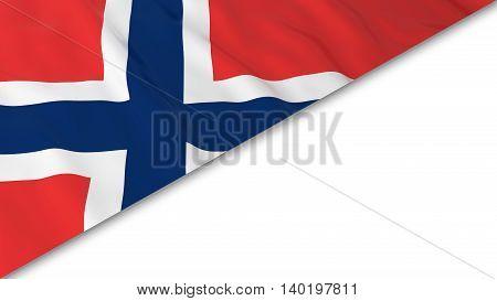 Norwegian Flag Corner Overlaid On White Background - 3D Illustration