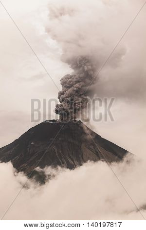 Powerful Explosion Of Tungurahua At Sunset February 2016 Ecuador