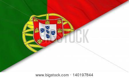 Portuguese Flag Corner Overlaid On White Background - 3D Illustration