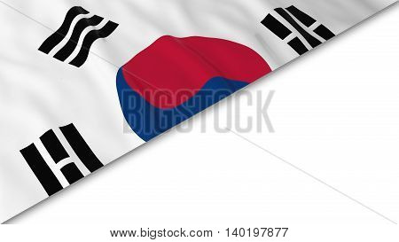 South Korean Flag Corner Overlaid On White Background - 3D Illustration