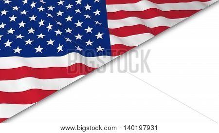 American Flag Corner Overlaid On White Background - 3D Illustration