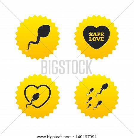 Sperm icons. Fertilization or insemination signs. Safe love heart symbol. Yellow stars labels with flat icons. Vector