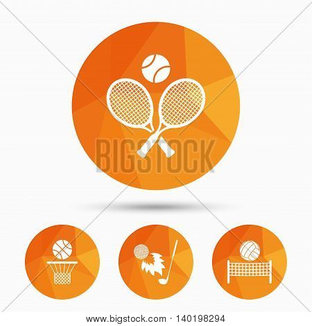 Tennis rackets with ball. Basketball basket. Volleyball net with ball. Golf fireball sign. Sport icons. Triangular low poly buttons with shadow. Vector