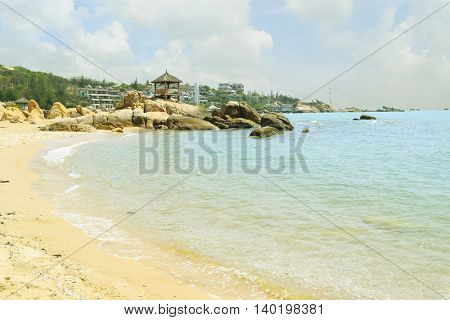 beautiful tropical beach with fishing village in ke ga near muine vietnam