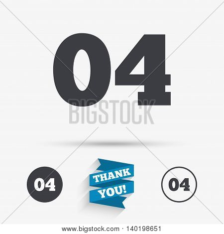 Fourth step sign. Loading process symbol. Step four. Flat icons. Buttons with icons. Thank you ribbon. Vector