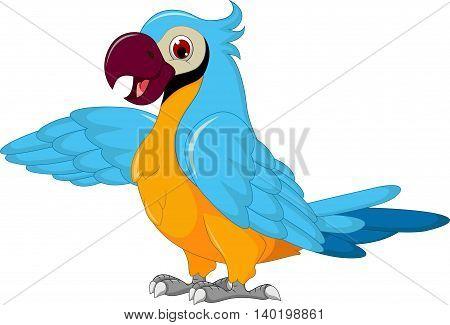 cute parrot cartoon posing for you design