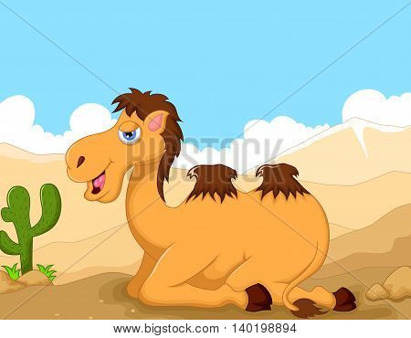 funny camel cartoon sitting with desert landscape background
