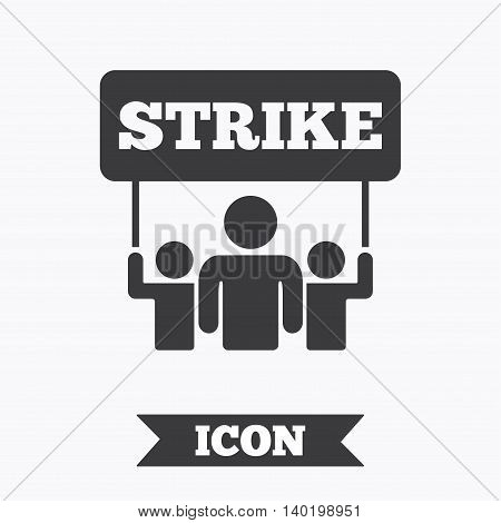 Strike sign icon. Group of people symbol. Industrial action. People holding protest banner. Graphic design element. Flat strike symbol on white background. Vector