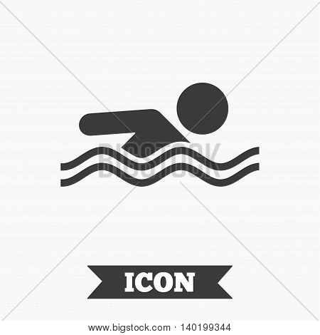 Swimming sign icon. Pool swim symbol. Sea wave. Graphic design element. Flat swimming symbol on white background. Vector