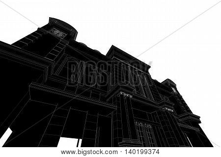 high building structure,architecture abstract drawing , 3d illustration,