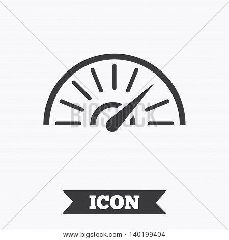 Tachometer sign icon. Revolution-counter symbol. Car speedometer performance. Graphic design element. Flat speed symbol on white background. Vector