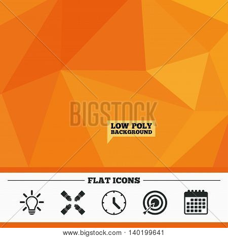 Triangular low poly orange background. Lamp idea and clock time icons. Target aim sign. Darts board with arrow. Teamwork symbol. Calendar flat icon. Vector