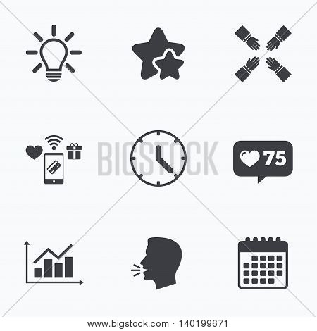Lamp idea and clock time icons. Graph chart diagram sign. Teamwork symbol. Flat talking head, calendar icons. Stars, like counter icons. Vector