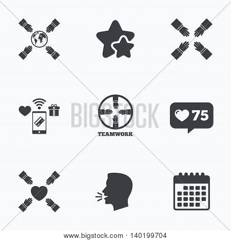 Teamwork icons. Helping Hands with globe and heart symbols. Group of employees working together. Flat talking head, calendar icons. Stars, like counter icons. Vector