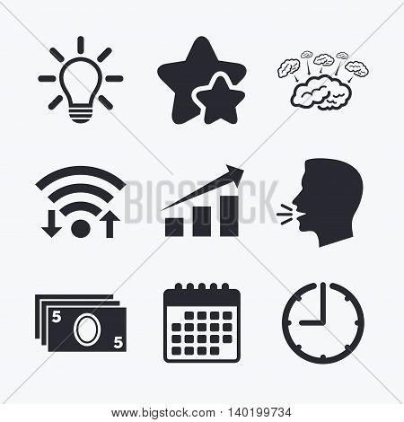 Chart with arrow, brainstorm icons. Cash money and lamp idea signs. Scheme and Diagram symbol. Wifi internet, favorite stars, calendar and clock. Talking head. Vector