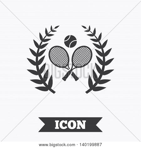 Tennis rackets with ball sign icon. Sport laurel wreath symbol. Winner award. Graphic design element. Flat tennis symbol on white background. Vector