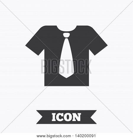 Shirt with tie sign icon. Clothes with short sleeves symbol. Graphic design element. Flat tie shirt symbol on white background. Vector