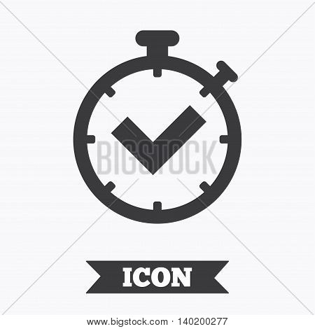 Timer sign icon. Check stopwatch symbol. Graphic design element. Flat timer check symbol on white background. Vector