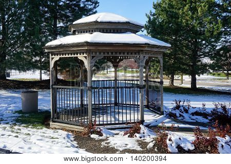 A gazebo in Joliet, Illinois after a November snow storm.