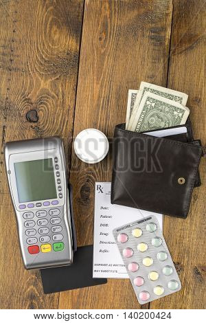 Pos terminal and leather wallet with paper money
