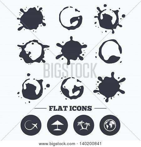 Paint, coffee or milk splash blots. Travel trip icon. Airplane, world globe symbols. Palm tree and Beach umbrella signs. Smudges splashes drops. Vector