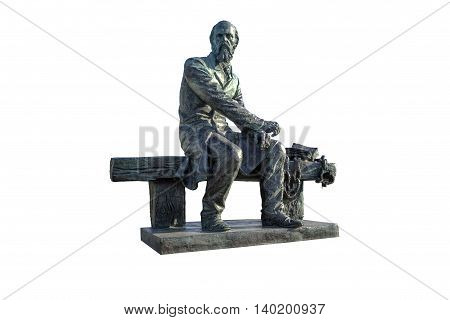 Monument to Dostoevsky on a white background isolated