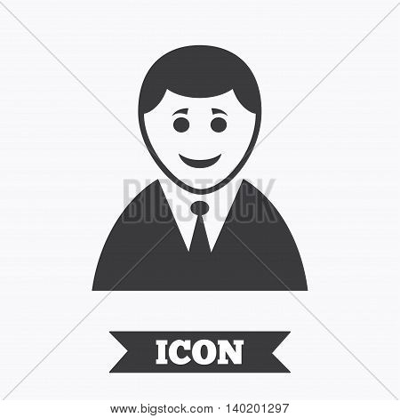 User sign icon. Person symbol. Human in suit avatar. Graphic design element. Flat user symbol on white background. Vector