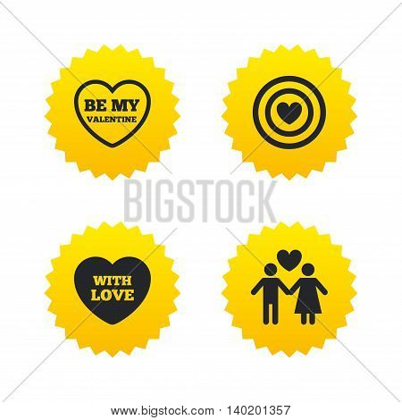 Valentine day love icons. Target aim with heart symbol. Couple lovers sign. Yellow stars labels with flat icons. Vector