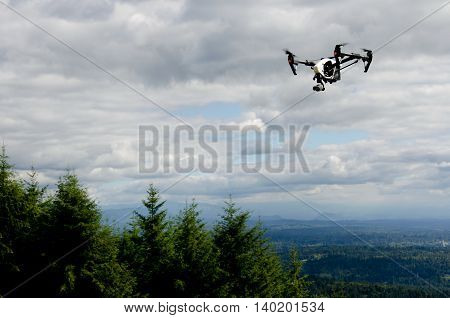Quadcopter Flying Near Poo Poo Point Summit