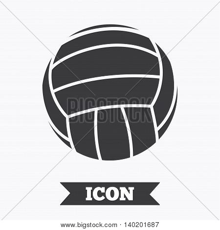 Volleyball sign icon. Beach sport symbol. Graphic design element. Flat volleyball symbol on white background. Vector