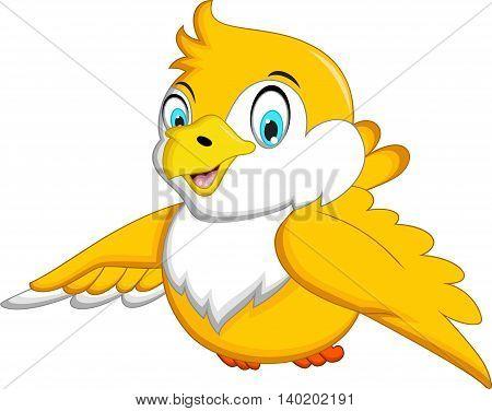 Cute Yellow bird cartoon waving for you design