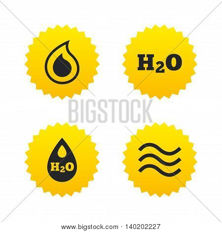 H2O Water drop icons. Tear or Oil drop symbols. Yellow stars labels with flat icons. Vector