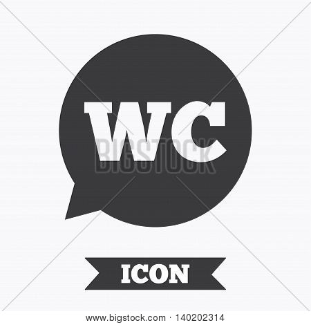 WC Toilet sign icon. Restroom or lavatory speech bubble symbol. Graphic design element. Flat wC toilet symbol on white background. Vector